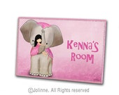 Girls bedroom sign, personalized gift for girls, girl and elephant name plaque, pink name sign,nursery door sign, kids art, pink or orange