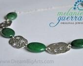 Handmade Aventurine and Fine Silver Necklace