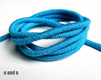 Cotton rope, cotton rope cord, cotton fiber cord, cotton rope for crafts, 3.5mm cord, wrapped cotton rope, turquoise cord, 1m