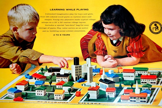 Building Toys From The 60s : Playskool village s social science city planning vtg