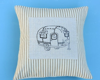 Camping pillow, RV decor, vintage airstream pillow cover