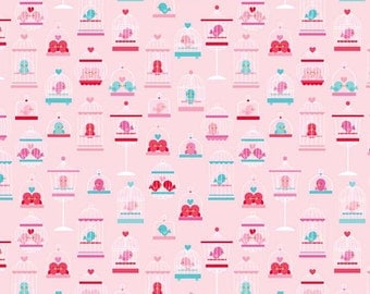 Lovey Dovey Fabric by DoodleBug Design Riley Blake Valentines Day Love Birds in Cages on Pink