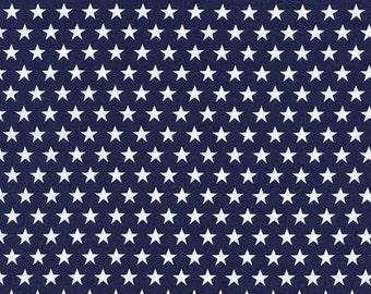 Nautical Fabric TT Patriotic White Stars on Navy Blue