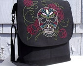 Convertible Backpack Messenger Satchel  HAND EMBROIDERED SUGAR SKuLL