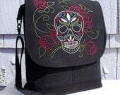 Convertible Backpack Messenger Satchel  HAND EMBROIDERED SUGAR SKuLL