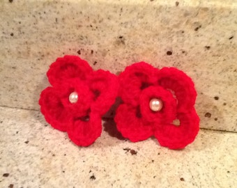 Crochet Photography Prop,Hair clip,Crochet flower,Pig tails, Hair accessories,Christmas Stocking Stuffers