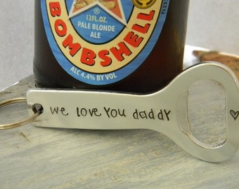 hand stamped bottle opener, personalized dad, man gift