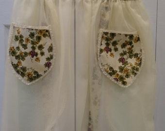 IVORY/CREAM, Elegant  Hostess half Apron, sheer and sexy, cream nylon fabric, with a grape cotton trim , two pockets