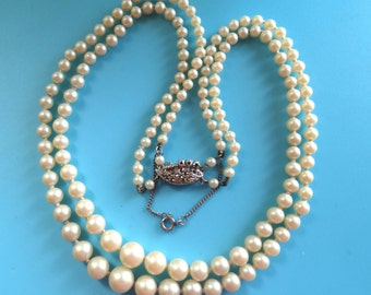1950 Vintage  2 strand graduated Pearl Necklace with marcasite Decorative Clasp - antique Sweetheart grandmother's jewel --Art.499/3-