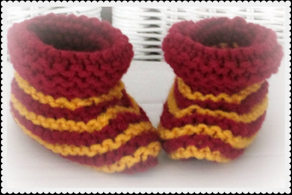Harry Potter Baby Booties Gryffindor Baby Shoes Knitted Baby