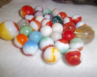 SALE - Vintage - Antique - Thirty Two Marbles - Antique Jar -  Collectors Treasure