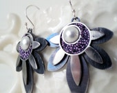 Sun earrings with beads and pearl