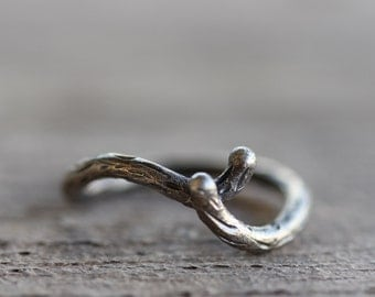Rustic Branch Women's Wedding Ring Silver Primitive Woodland - Shadow Bark