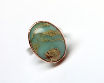 Snakeskin Jasper Silver Copper Ring Southwest Tribal Green Blue Rust Brown Pattern Natural Large Gemstone Statement Ring Boho - Snake Canyon