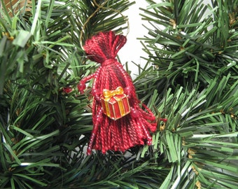 Red Beaded Tassel Christmas Ornament with Gift-Shaped Beads