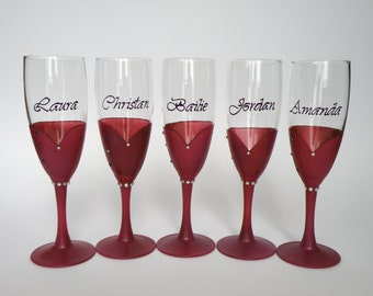Bridal shower party champagne glasses Hand painted , burgundy red, crystals,  bridesmaids dresses