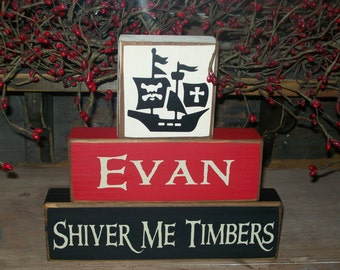 YO-HO-HO..Boys Pirate Themed Personalized Wood Sign Blocks Primitive Distressed Room Decor..Let me make a set for you today