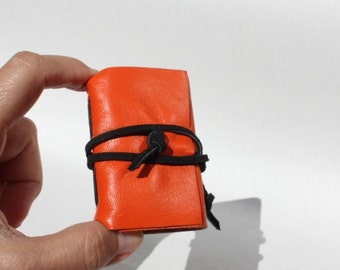 Wee Mini Notebook - Orange Leather - Handmade
