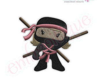 Ninja for Girls with Bow and Staff - Instant Email Delivery Download Machine embroidery design