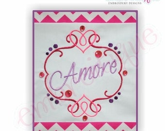 Amore Flourished Heart Font Frame - Small- Instant Download -Digital Machine Embroidery Design