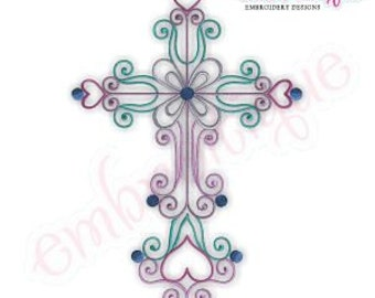 Curly Iron Cross Embroidery Design- Instant Download -Digital Machine Embroidery Design