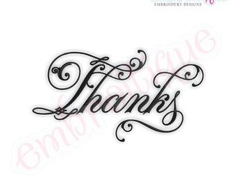 Thanks Script 1 - Instant Email Delivery Download Machine embroidery design