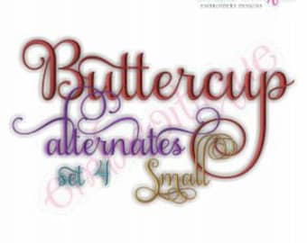 Buttercup Monogram Set Alternates 4 - Small-- Machine Embroidery Font Alphabet Letters  -  Instant Download  design