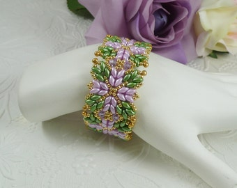 Woven Bracelet with Twin Beads and Swarovski in Orchid and Green