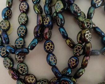 Czech Glass Flowers Clovers Shamrocks Green Iris Gold Etching Plants Beads 9/10mm Charms Earrings Bracelets Necklaces Crafts St Patricks 12