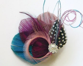 Spring Fling Magenta, Teal, and Rose Peacock Feather and Sword Hair Clip with Rhinestone Wedding Fascinator Clip Bridal Party