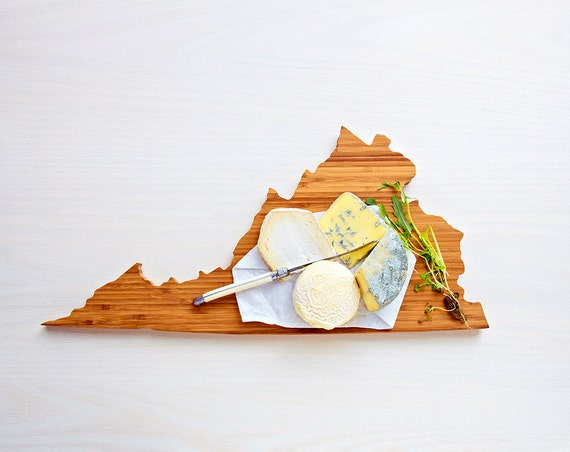 Virginia Cutting Board 4th of july Gift Personalized engraved Virginia cheese state shaped board