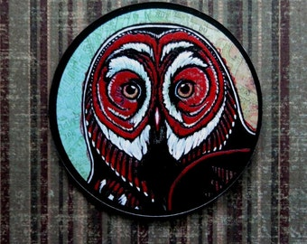 Great Grey Owl - Lady in Red (art magnet)