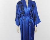 Vintage Silk Embroidered Robe  - Stunning Lounge Wear in Royal Blue with Black Embroidery
