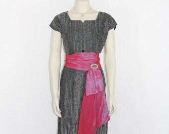 1950s Vintage Dress - Black Silver Metallic and Bright Iridescent Pink/Blue Taffeta Cummerbund Dress with Crop Top Cocktail Party Dress