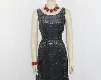 Vintage Party Dress - 1950s Sequin Silhouette Black Cocktail Party VLV Dress - LBD - 38 / 30 / 38