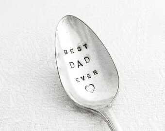 Hand stamped Spoon -  BEST DAD EVER with a little heart - From Goozeberry Hill