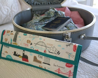 "Insulated Flat Iron Travel Case ""World Traveler"" Aqua and Red on White"