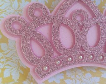 Princess Crown invitations - 25 glittered princess Crown - Crown Invitation with pearls - new invitations