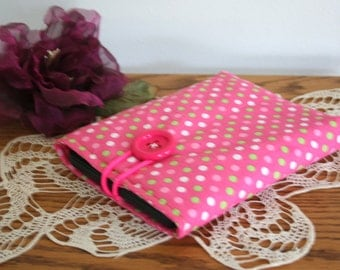 Hot pink poka dot kindle cozy
