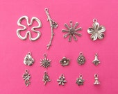 The Flower Collection - 14 different antique silver tone charms