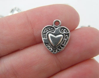 10 Heart charms antique silver tone H18