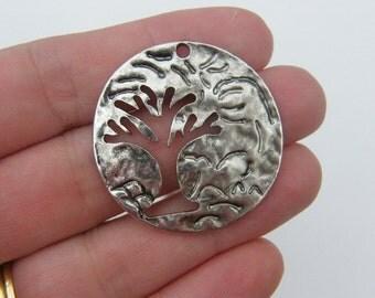 4 Tree pendants antique silver tone T10