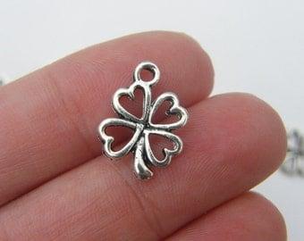 14 Four leaf clover charms antique silver tone L42