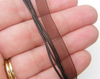 5 Dark brown ribbon voile necklace 46cm 18""