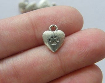 8 Heart with paw prints charms antique silver tone A468