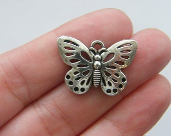 BULK 30 Butterfly charms antique silver tone A354