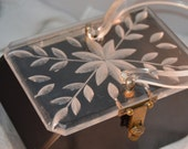 Lovely Vintage Lucite Mid Century Purse Handbag Black & Clear