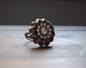 Wire Wrapped Button Ring Size 7