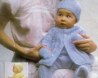 Sale *** Baby Knitting PATTERN - Baby Jacket, Hat, Leggings and Mittens 18 - 20 ins