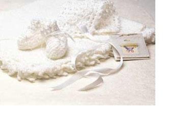 Crochet Pattern - Car Seat Blanket/Blankie, Bonnet and Booties/Bootees (Afghan) for Baby